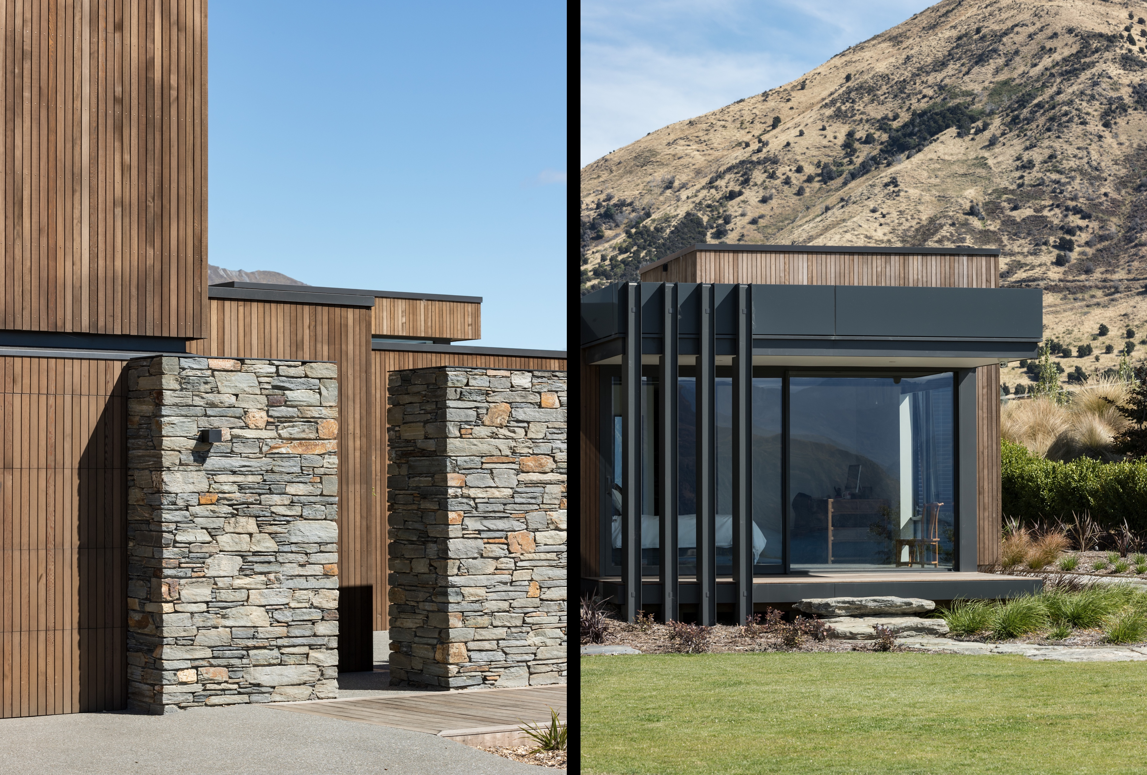 Split image depicting the use of stone and vertical timber cladding on the left, and an exterior on the right showing glazing, steel structural elements, and burnt hills in the background