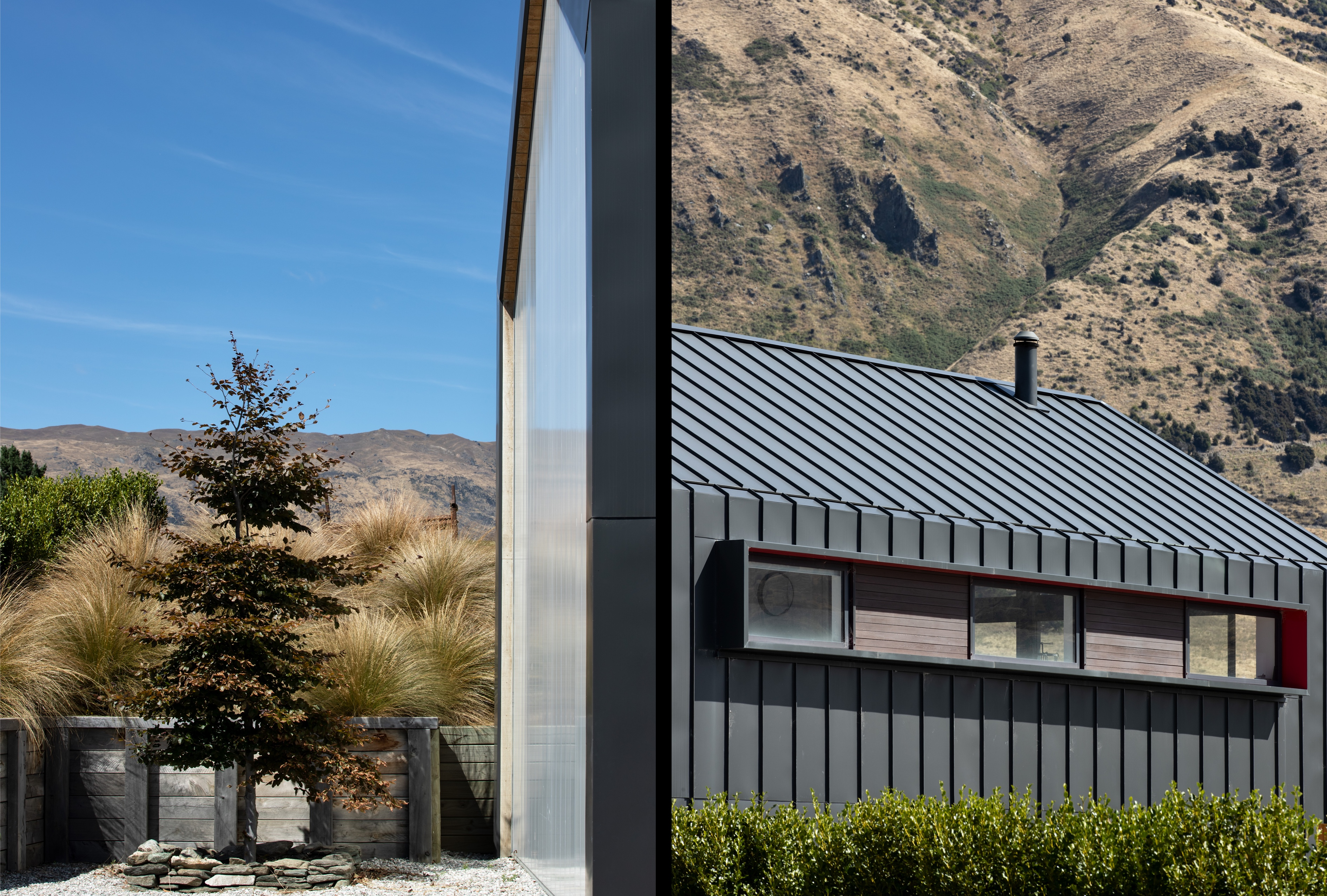 Split view with exterior on the left, depicting outdoor spaces and local flora; and the building's steel cladding on the right with hills in the background