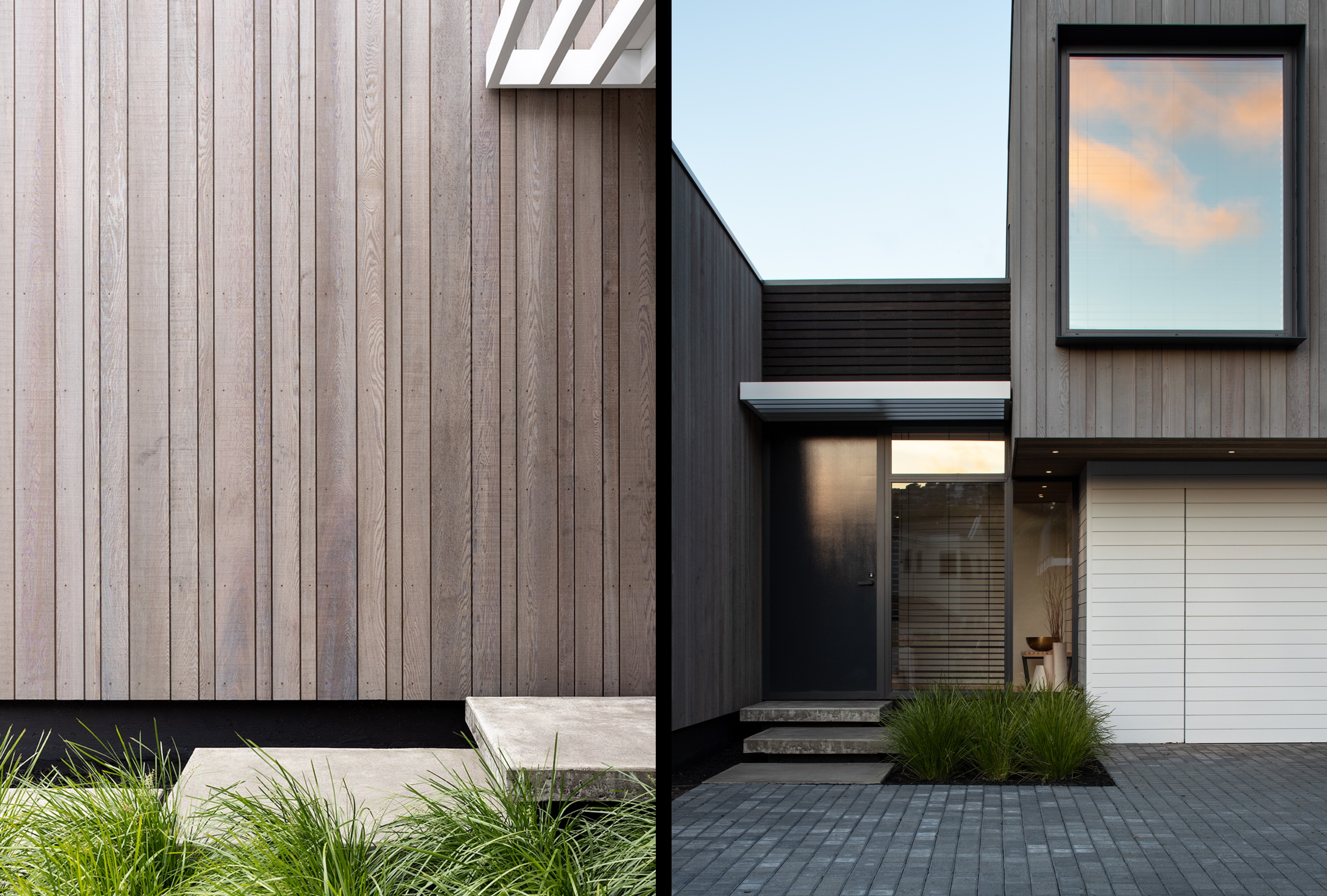 Composite of the Broad Oaks Cedar cladding (depicted on the left), and an exterior of the entranceway (depicted on the right)
