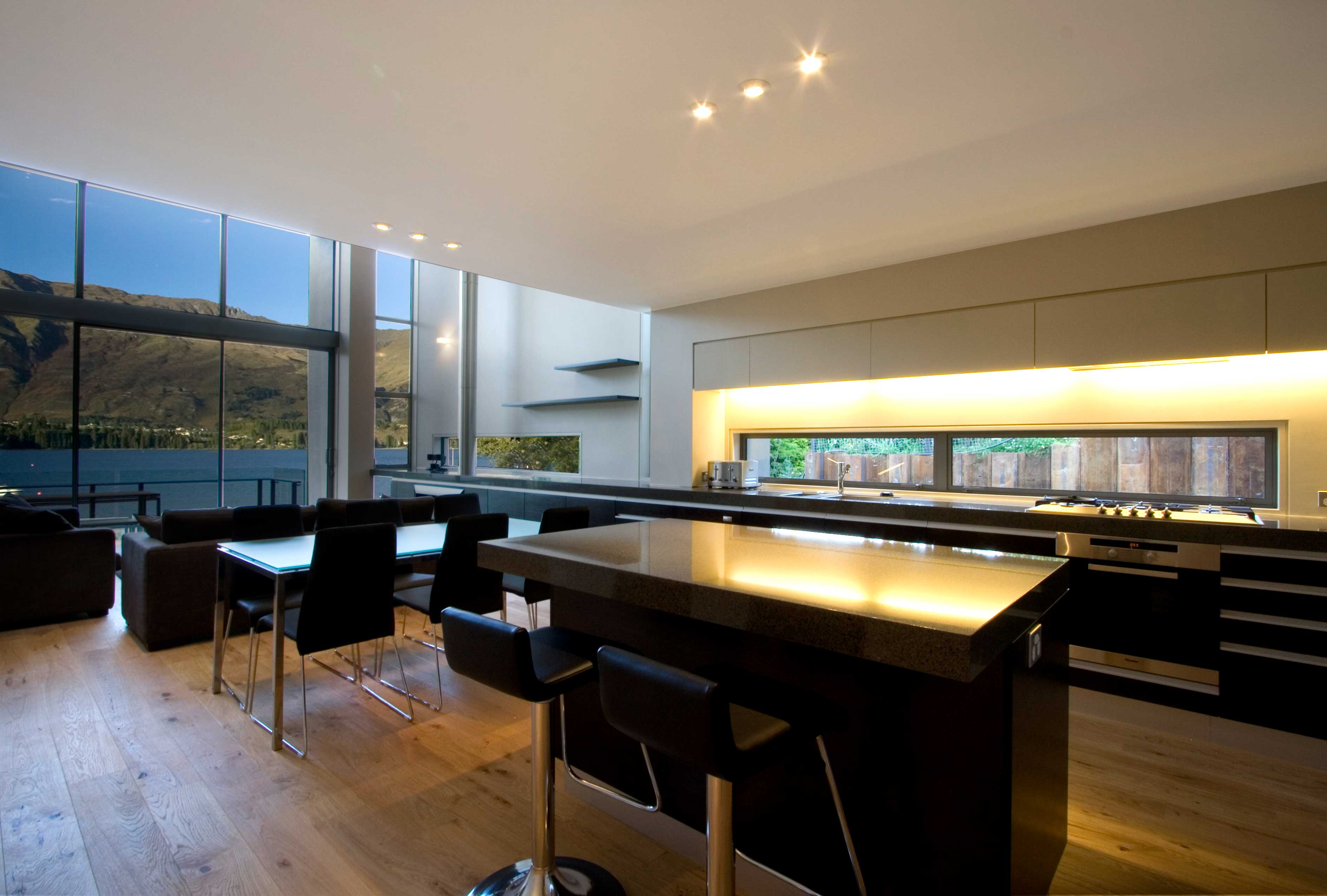 Dining and kitchen area with views to the lake