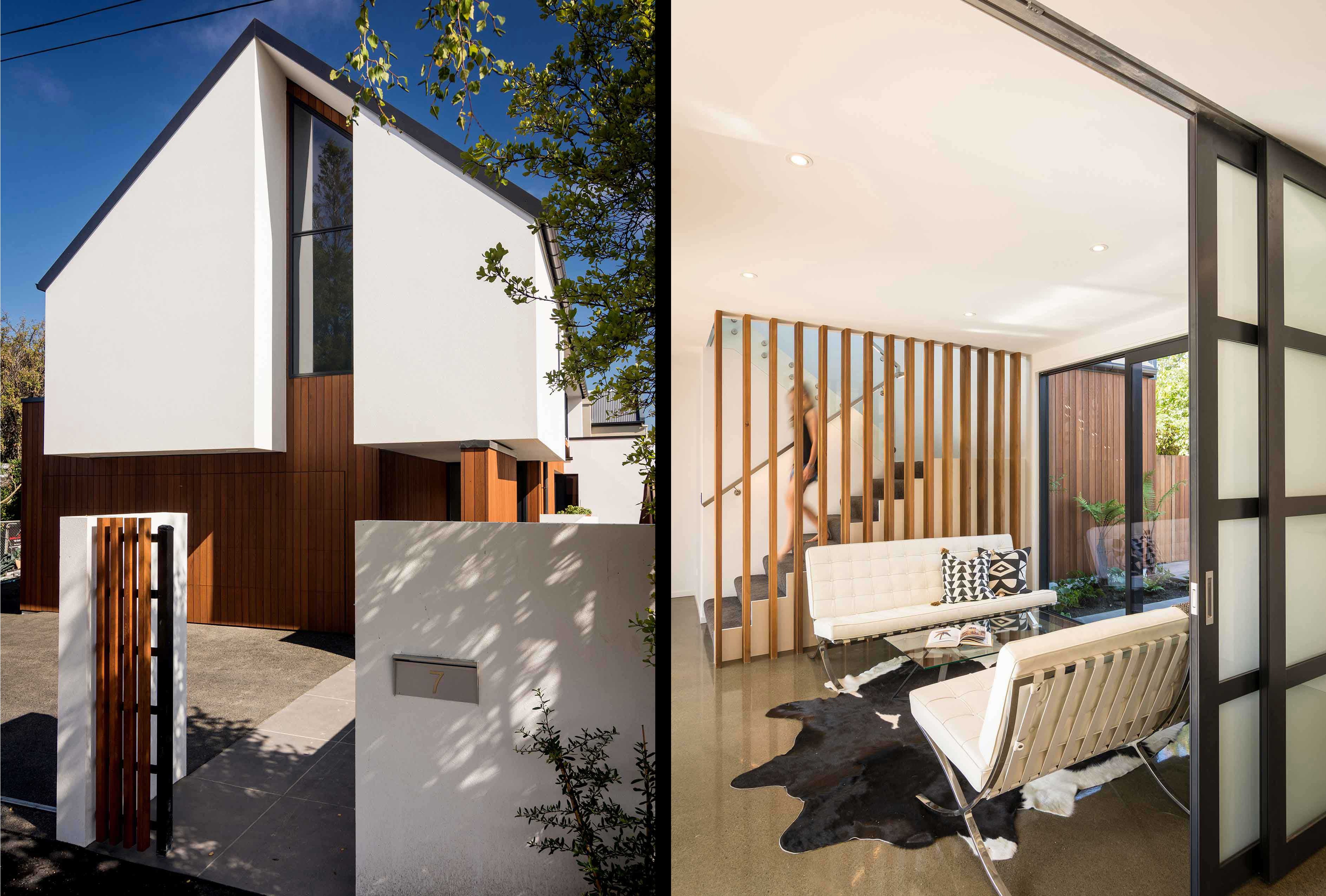 Composite of the Rutland Street house's frontage (depicted on the left), and a woman descending the staircase into a space adorned with modernist furniture (depicted on the right)